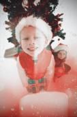 Festive little siblings smiling — Foto de Stock