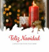 Feliz navidad against christmas home — Stok fotoğraf