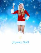 Pretty girl in santa outfit holding hand up — Stock Photo