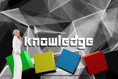 Knowledge against abstract glowing black background — Stock Photo