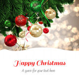 Happy Christmas against christmas tree — Stok fotoğraf
