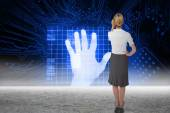 Businesswoman against hand print identification — Stock Photo