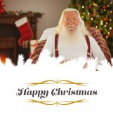 Happy santa without his jacket — Stock Photo