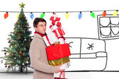 Man with many christmas presents — Foto de Stock