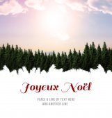 Joyeux noel against fir tree forest — Stock Photo