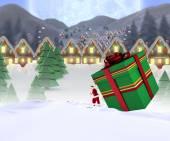 Santa delivering large gift — 图库照片