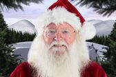Santa smiles in the camera — Stok fotoğraf