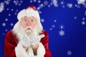 Santa Claus blows something away — Foto de Stock
