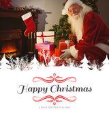 Santa delivering gifts at christmas eve — Stock Photo