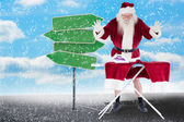 Santa is impressed about something on pants — Stock Photo