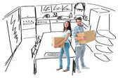 Jong koppel met verhuisdozen — Stockfoto