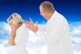 Angry man shouting at his partner — Stock Photo