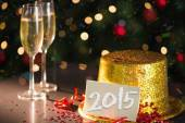 2015 card on table set for party — Stock Photo