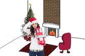 Stressed brunnette holding gifts — Stok fotoğraf