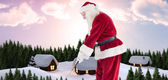 Santa Claus is playing golf — Foto Stock