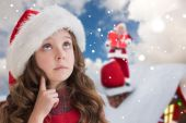 Cute girl in santa hat — Stock Photo