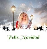 Sexy santa girl opening gift — Stock Photo