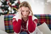 Blonde woman having headache — Stock Photo