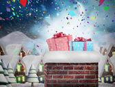 Chimney filled with gift — Stock Photo