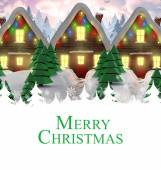 Merry christmas against covered houses — Foto Stock