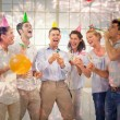 Casual business team celebrating with champagne — Stock Photo #62510773