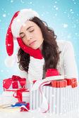 Brown hair in santa hat napping — Stock Photo