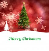 Merry Christmas against christmas tree — Stock Photo