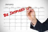 今年 1 月的日历上的新年愿望 — 图库照片