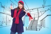 Brunette holding shopping bags — Stok fotoğraf