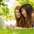 Relaxed women using laptop in park — Stock Photo #62652719