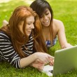 Relaxed women using laptop in park — Stock Photo #62655261