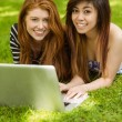 Relaxed women using laptop in park — Stock Photo #62655851