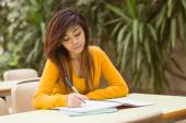 Female college student doing homework — Photo