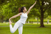 Toned woman doing stretching exercises in park — Stock Photo
