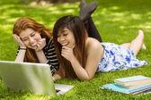 Happy women using laptop in park — Стоковое фото