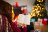 Rear view of redhead reading at christmas — Stock Photo