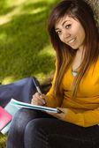 Student doing homework in park — Stock Photo
