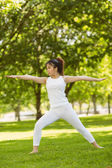 Woman doing stretching exercises in park — Stock fotografie