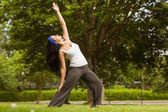 Peaceful brunette doing yoga in the park — Stock Photo