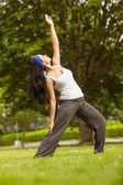Cheerful brown hair doing yoga on grass — Stock Photo