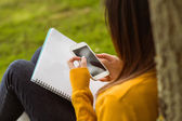 Female student text messaging in park — Stock Photo