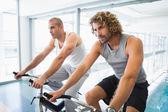 Men working on exercise bikes at gym — Stock Photo
