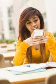 Beautiful female student text messaging — Stock Photo