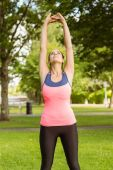 Fit brunette stretching her arms  — Stock Photo