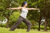 Peaceful brunette doing yoga on grass — Stock Photo