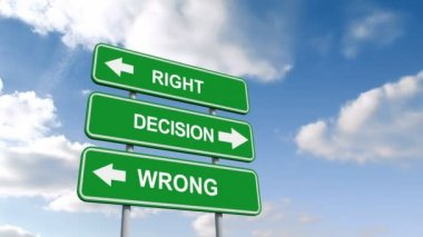 Right wrong decisions signs against sky — Stock Video