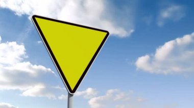 Empty yellow road sign over cloudy sky — Stock Video