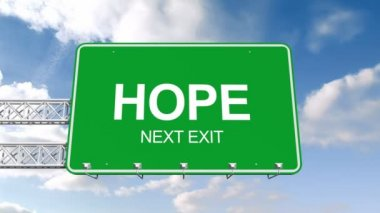 Hope next exit sign against sky — Stock Video