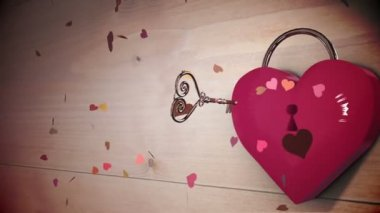 Key opening a heart lock with valentines message — Stock Video