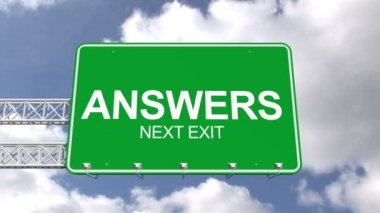 Answers next exit sign against sky — Stock Video